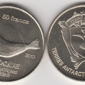 TERRE ADELIE 50 Francs 2011, Seal unusual coinage
