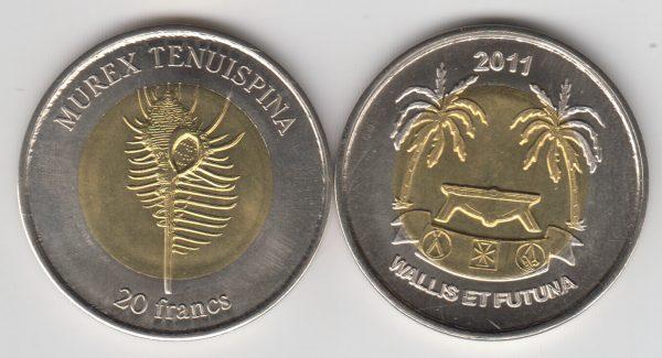 WALLIS & FUTUNA 20 Francs 2011 bimetal, unusual coinage