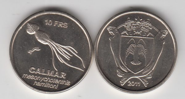 AMSTERDAM & SAINT PAUL 10 Francs 2011, unusual coinage