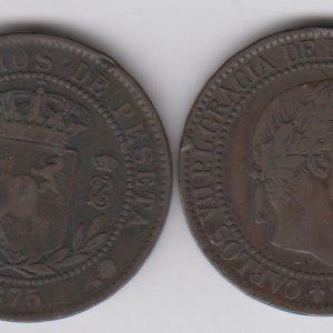 SPAIN 10 Centimos 1875, KM670, TB/Fine Carlos VII