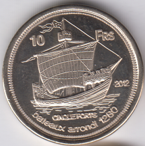 EUROPA 10 Francs 2012, Squid, unusual coinage