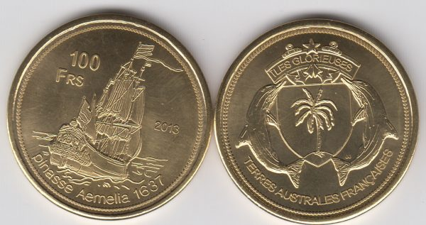 GLORIEUSES 100 Francs 2013, unusual coinage