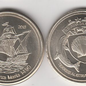 JUAN DE NOVA 20 Francs 2013, Otter, unusual coinage