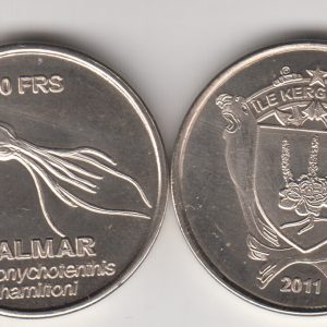 KERGUELEN 10 Francs 2011, Squid, unusual coinage