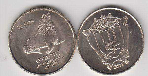KERGUELEN 20 Francs 2011, Otter, unusual coinage