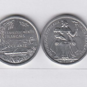 FRENCH OCEANIA lot 10x 50 Centimes 1949 KM1
