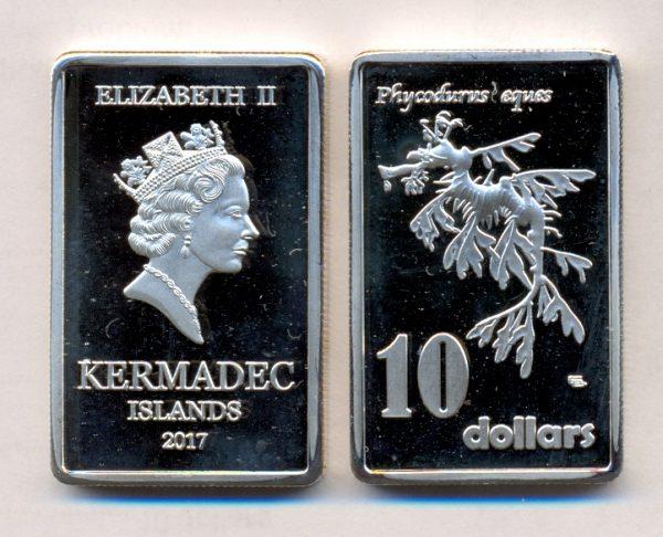 KERMADEC ISLAND $10 2017, unusual coinage