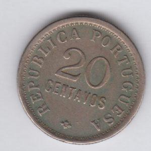ANGOLA 20 Centavos 1921 VF/TTB KM64