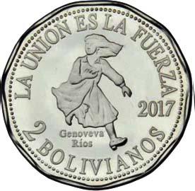 BOLIVIA 2 Bolivares 2017 Genoveva