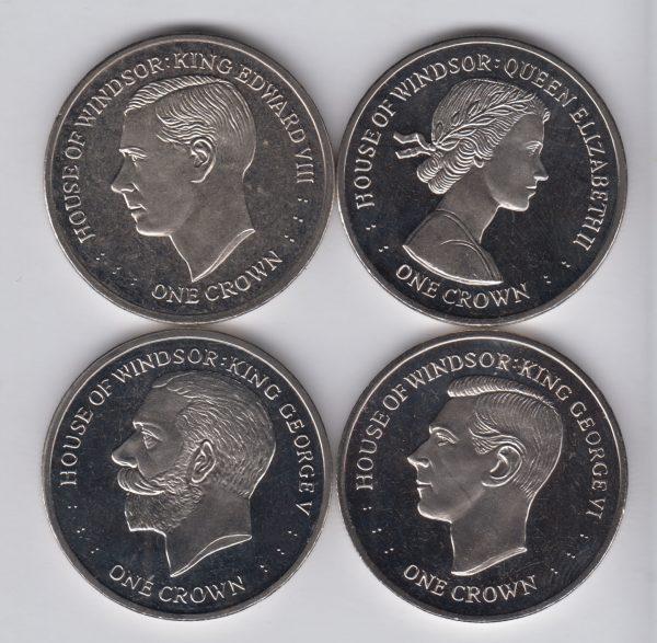 FALKLAND 4x 1 Crown 2017 Windsor / Elizabeth II, Edward VIII, George VI, George V