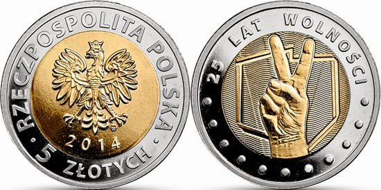 POLAND 5 Zlotych 2014 - 25th of freedom, bimetal