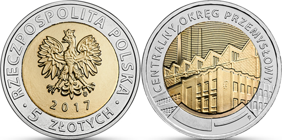 POLAND 5 Zlotych 2017 bimetal, Center Industrial District