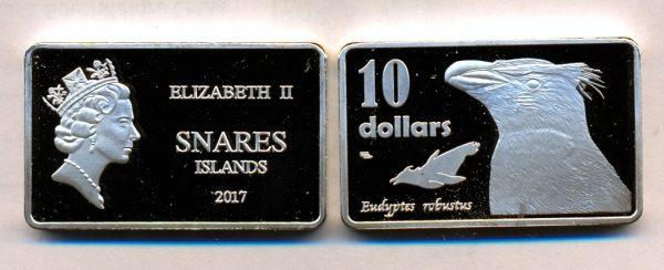 SNARES ISLAND $10 2017, unusual coinage