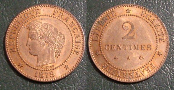 France 2 Centimes Cérès 1878A