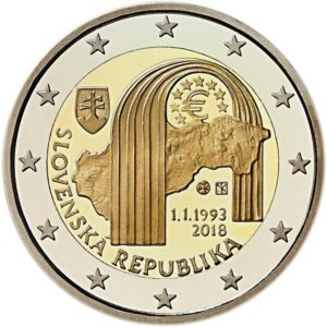 SLOVAKIA 2 EUR 2018 bimetal, 25th Anniversary