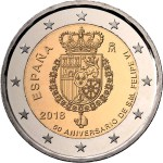 SPAIN 2 EUR 2018  bimetal 50th Ann of the king