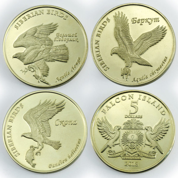 FALCON ISLANDS, 3x $5 2018, Eagles,  unusual coinage