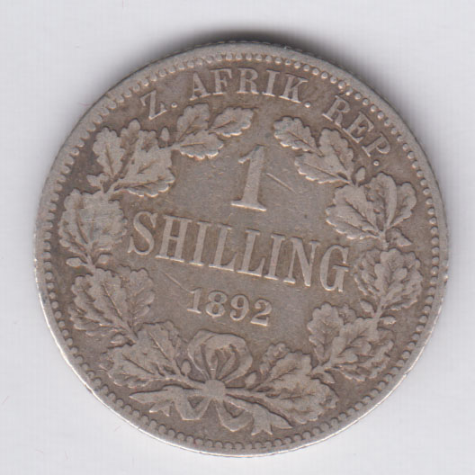 SOUTH AFRICA 1 Shilling 1894 silver VF/TTB KM5