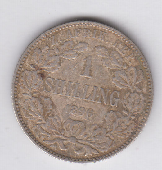 SOUTH AFRICA 1 Shilling 1896 silver VF/TTB KM5