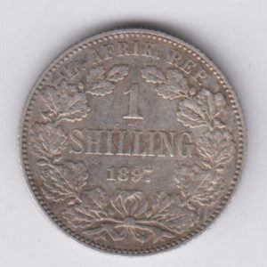 SOUTH AFRICA 1 Shilling 1897 silver VF/TTB KM5