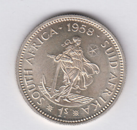 SOUTH AFRICA 1 Shilling 1958 silver XF+/SUP+ KM49