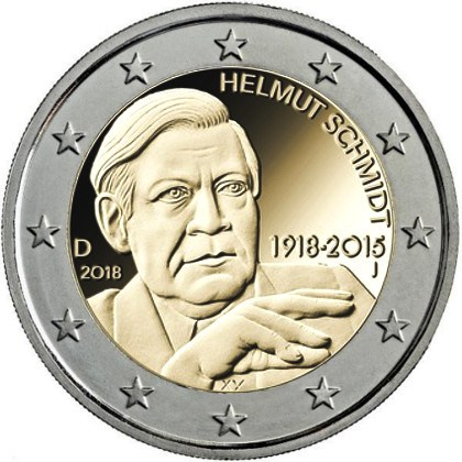 GERMANY 5x 2 EUR 2018 Helmut Schmidt A D F G J