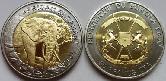 BURKINA FASO 50 Francs 2017 bimetal, Elephants