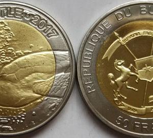 BURKINA FASO 50 Francs 2017 bimetal, Sea Turtle