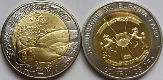 BURKINA FASO 50 Francs 2017 bimetal, Sea Turtle