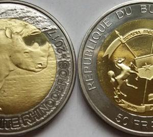 BURKINA FASO 50 Francs 2017 bimetal, Rhino