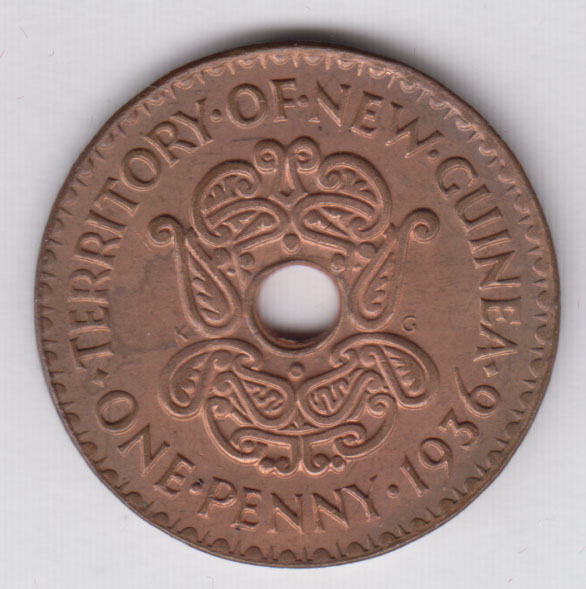BRITISH NEW GUINEA One Penny 1936 KM6