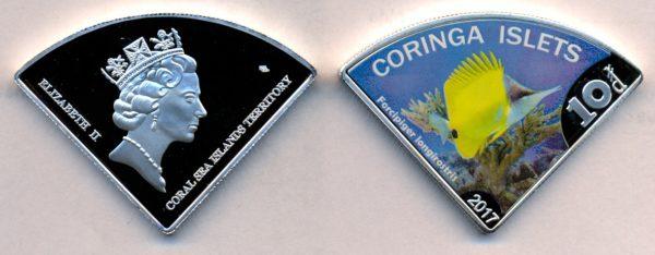 CORINGA ISLAND $10 2017, unusual coinage