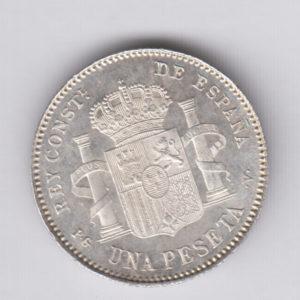 SPAIN 1 Peseta 1896(98) – KM706 – silver, UNC/SPL