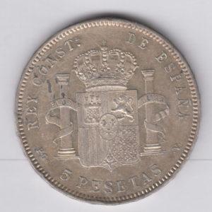 SPAIN 5 Pesetas 1896(96) – KM707 – silver, XF+/SUP+