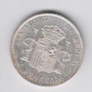 SPAIN 2 Pesetas 1905(05) – KM725 – silver, UNC/SPL