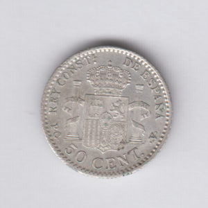 SPAIN 50 Centimos 1910(10) - KM730 - silver, XF/SUP