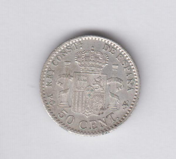 SPAIN 50 Centimos 1910(10) – KM730 – silver, XF/SUP
