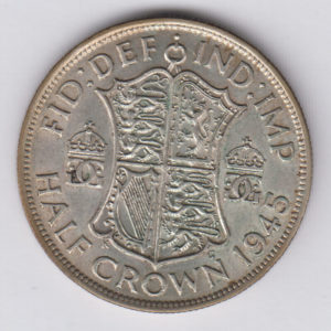 GREAT BRITAIN Half Crown 1945 - KM856 - silver, XF/SUP