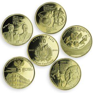 ISLA DE LA LIBERTAD (CUBA) Set 5x 10 Pesos 2017, unusual coinage, Russian football history