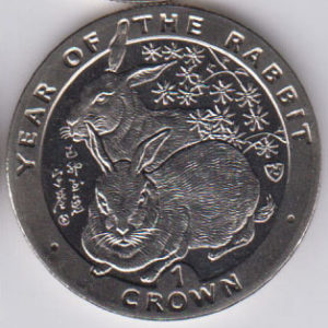 ISLE OF MAN Crown 1999 KM952 - Year of the rabbit