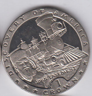 ISLE OF MAN Crown 1992 KM310 – Discovery of America, train