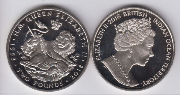 BRITISH INDIAN OCEAN £2 2018 - Lion, Unicorn, Cu Ni Crown