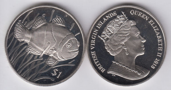BRITISH VIRGIN ISLAND $1 2018 – Clown Fish, Cu Ni Crown