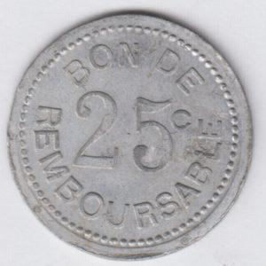 COMOROS 25 Centimes ND1915 – Société de la Grande Comore, Token VF/TTB