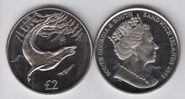 SOUTH GEORGIA & SANDWICH ISLANDS £2 2018 - Leopard Seal, Cu Ni Crown
