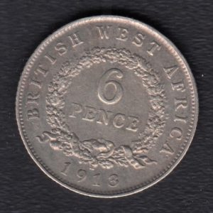 BRITISH WEST AFRICA 6 Pence 1913 XF/SUP KM11