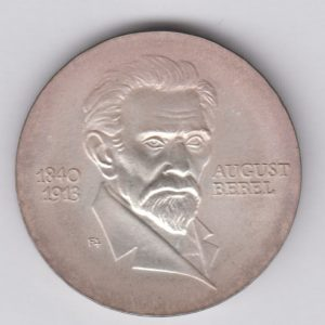 EAST GERMANY 20 Mark 1973 silver KM46 - August Bebel