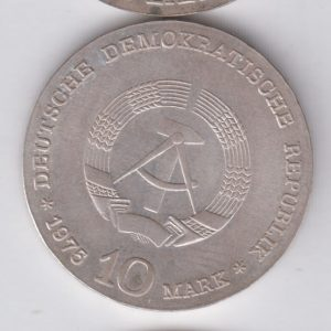 EAST GERMANY 10 Mark 1975 silver KM56 - Albert Schweitzer