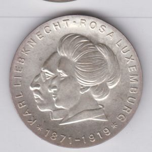 EAST GERMANY 20 Mark 1971 silver KM32 - Karl Liebknecht