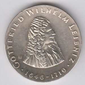 EAST GERMANY 20 Mark 1966 silver KM16 - Gottfried W. Leibniz